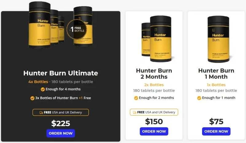 hunter burn packages